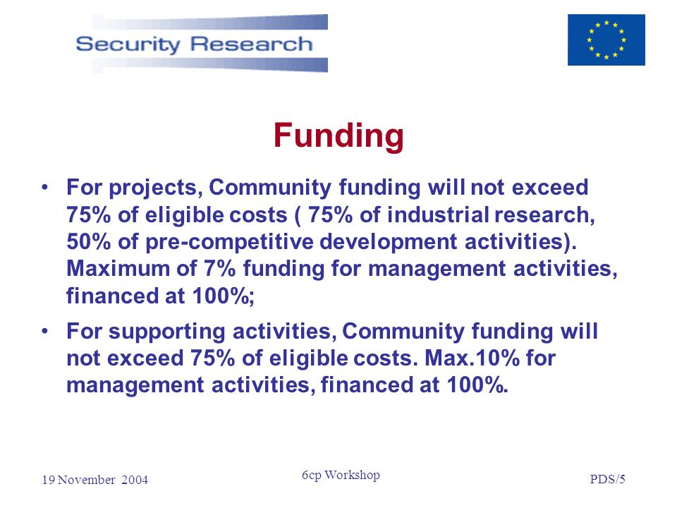 19 November 2004 PDS/5 6cp Workshop Funding For projects, Community funding will not exceed 75% of eligible costs ( 75% of industrial research, 50% of pre-competitive development activities).