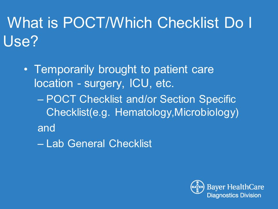 What is POCT/Which Checklist Do I Use.