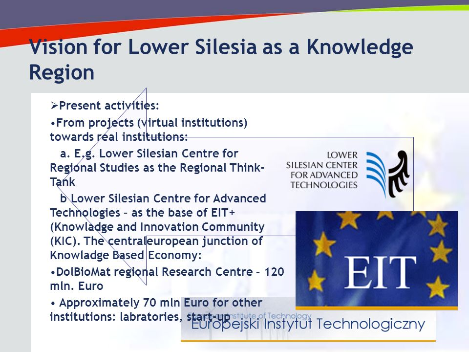 13 Vision for Lower Silesia as a Knowledge Region Present activities: From projects (virtual institutions) towards real institutions: a.