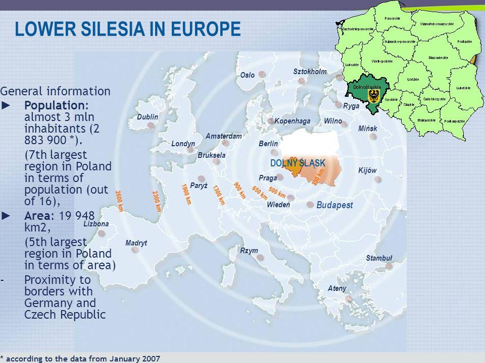 LOWER SILESIA IN EUROPE DOLNY ŚLĄSK Budapest Praga Berlin Wiedeń Kopenhaga Kijów Wilno Mińsk Ryga Sztokholm Oslo Amsterdam Bruksela Paryż Rzym Ateny S