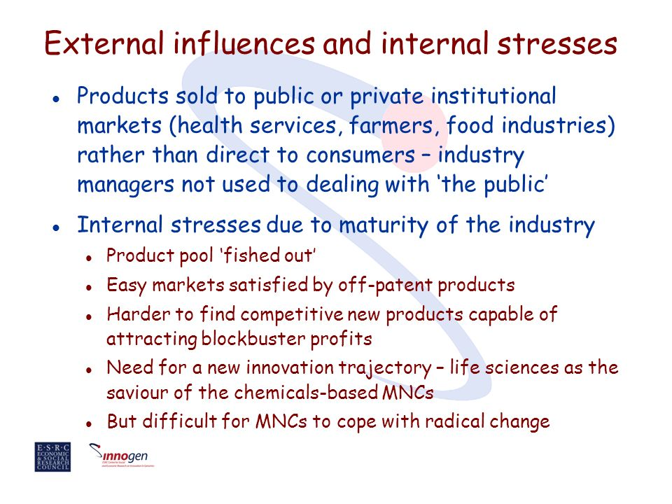 External influences and internal stresses l Products sold to public or private institutional markets (health services, farmers, food industries) rather than direct to consumers – industry managers not used to dealing with the public l Internal stresses due to maturity of the industry l Product pool fished out l Easy markets satisfied by off-patent products l Harder to find competitive new products capable of attracting blockbuster profits l Need for a new innovation trajectory – life sciences as the saviour of the chemicals-based MNCs l But difficult for MNCs to cope with radical change