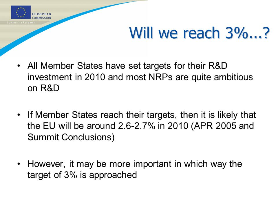 Will we reach 3%...? All Member States have set targets for their R&D investment in 2010 and most NRPs are quite ambitious on R&D If Member States rea