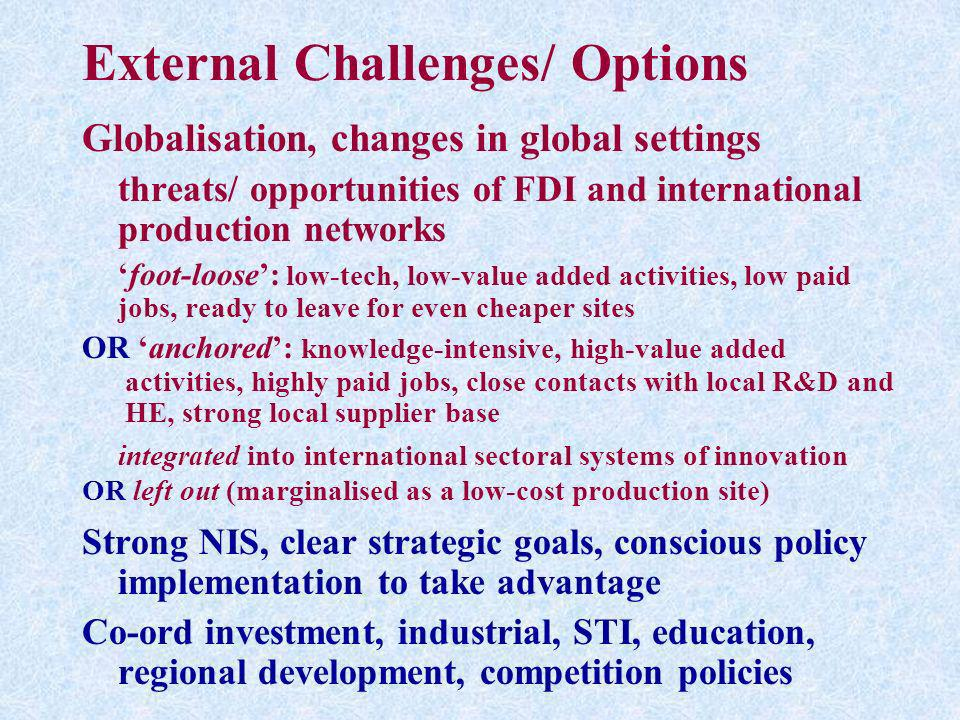 External Challenges/ Options Globalisation, changes in global settings threats/ opportunities of FDI and international production networks foot-loose: