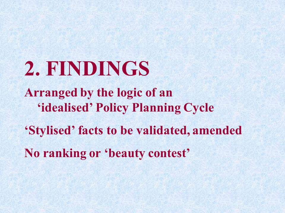 2. FINDINGS Arranged by the logic of an idealised Policy Planning Cycle Stylised facts to be validated, amended No ranking or beauty contest