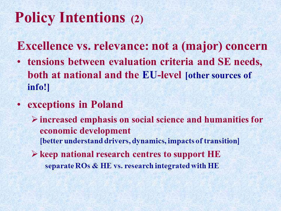 Policy Intentions (2) Excellence vs. relevance: not a (major) concern tensions between evaluation criteria and SE needs, both at national and the EU-l