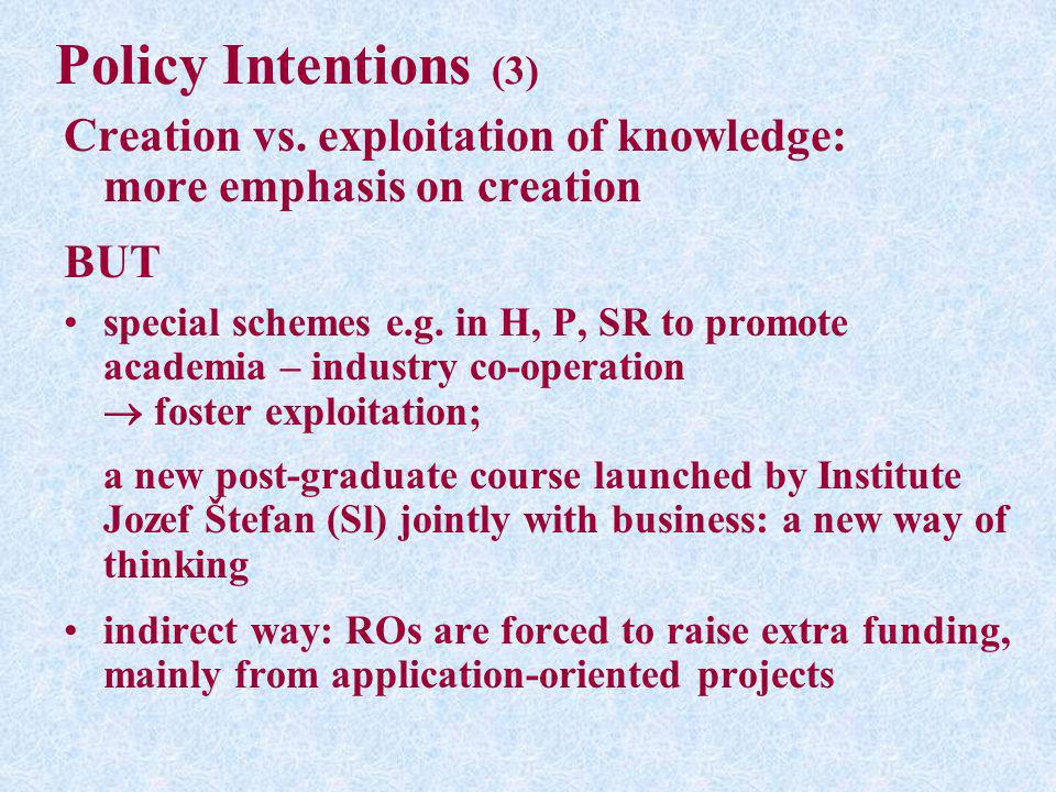 Policy Intentions (3) Creation vs. exploitation of knowledge: more emphasis on creation BUT special schemes e.g. in H, P, SR to promote academia – ind