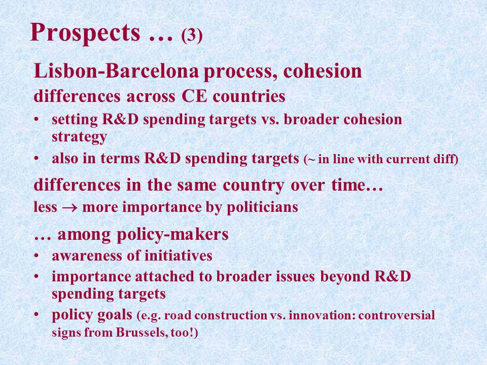 Prospects … (3) Lisbon-Barcelona process, cohesion differences across CE countries setting R&D spending targets vs. broader cohesion strategy also in