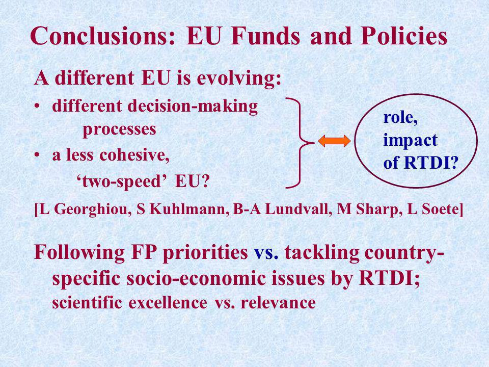 Conclusions: EU Funds and Policies A different EU is evolving: different decision-making processes a less cohesive, two-speed EU? [L Georghiou, S Kuhl