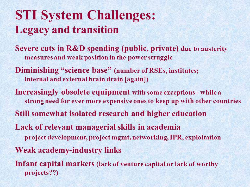 STI System Challenges: Legacy and transition Severe cuts in R&D spending (public, private) due to austerity measures and weak position in the power st