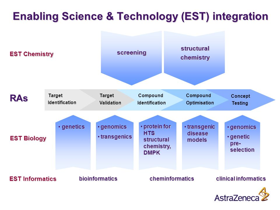 A Enabling Science & Technology (EST) integration screening structural chemistry EST Chemistry genetics genetics genomicsgenomics transgenicstransgenics transgenic disease modelstransgenic disease models genomicsgenomics genetic pre- selectiongenetic pre- selection EST Biology protein for HTS structural chemistry, DMPKprotein for HTS structural chemistry, DMPK EST Informatics bioinformaticscheminformatics clinical informatics Compound Optimisation Concept Target Validation Target Identification RAs Testing