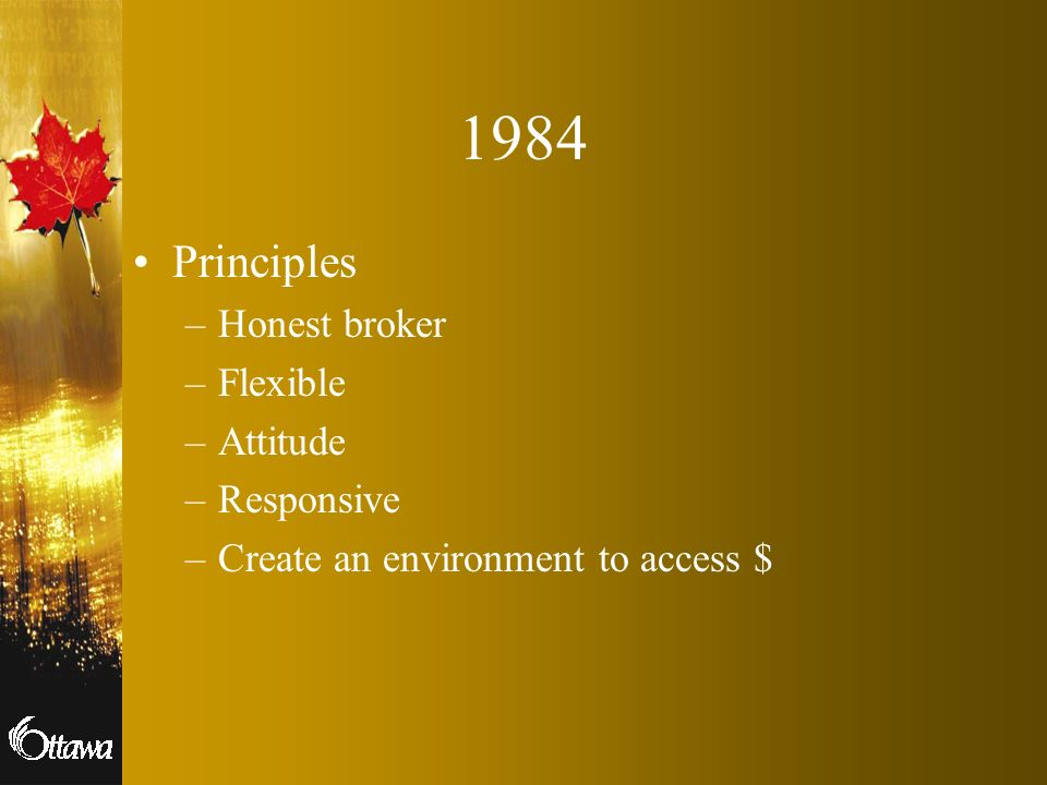 1984 Principles –Honest broker –Flexible –Attitude –Responsive –Create an environment to access $