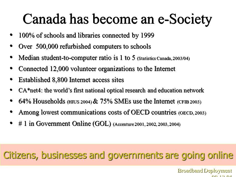 Canada has become an e-Society Citizens, businesses and governments are going online Broadband Deployment 09.12.04 100% of schools and libraries conne