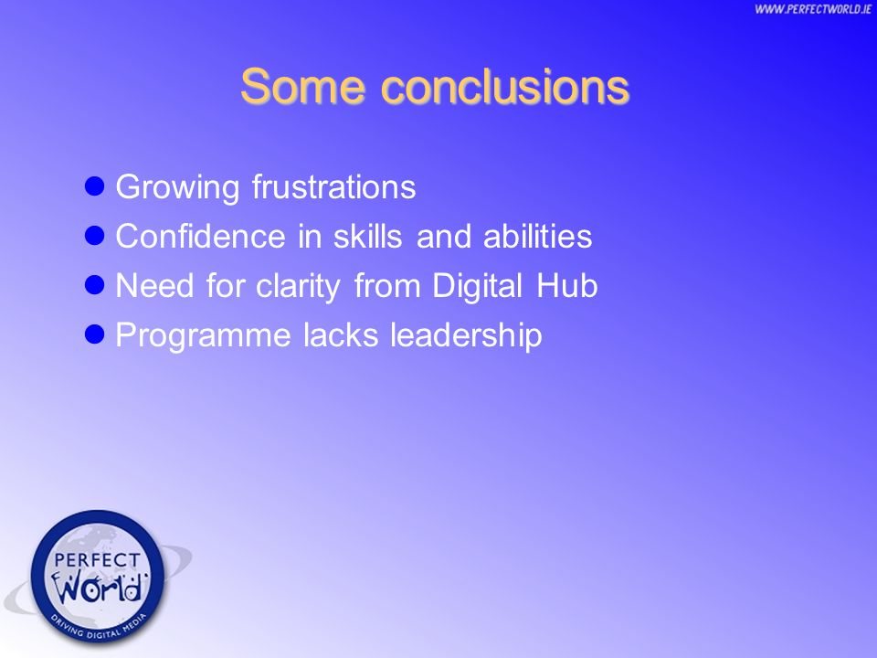 Some conclusions Growing frustrations Confidence in skills and abilities Need for clarity from Digital Hub Programme lacks leadership