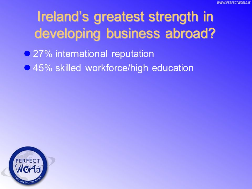 Irelands greatest strength in developing business abroad.