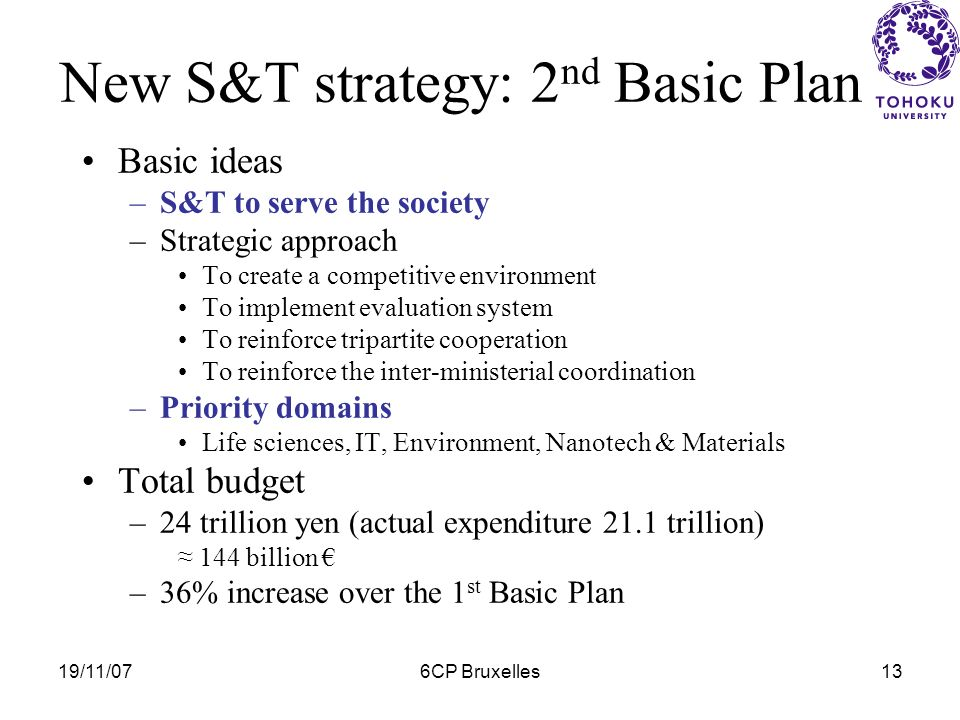 19/11/076CP Bruxelles12 New S&T strategy: CSTP « S & T Policy » by the past –Shared competencies S & T Agency = Initiator & Executor Science & Technology Council = Consutatif instance Ministry of finance = arbitrage Council for S & T Policy (CSTP: 2001) –Within the Cabinet Office directly attache to the Prime Minister –Under the authority of Deputy Minister in charge of Science & Technology (Fumio KISHIDA?*) –Above all ministries CSTPs functions –Coordination –Initiation Expert Panels *Also charged of Okinawa & Northern territories Affaires, Social Affaires, Re-Challenge, Deregulation