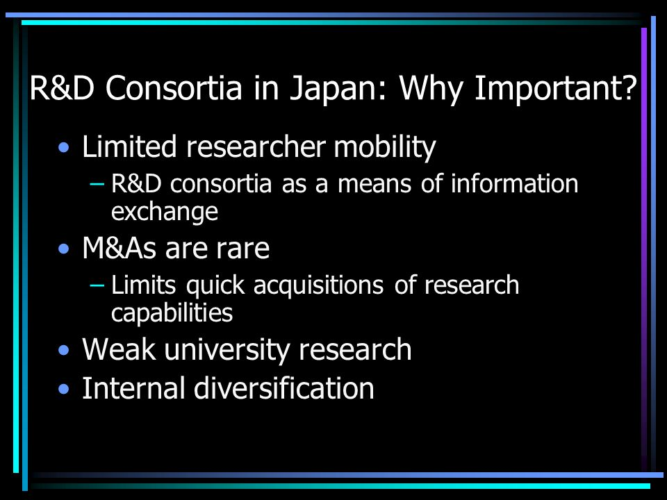 R&D Consortia in Japan: Why Important.