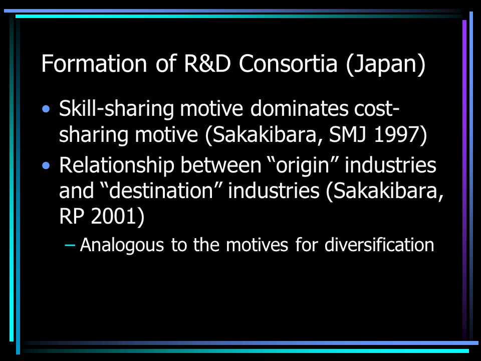 Formation of R&D Consortia (Japan) Skill-sharing motive dominates cost- sharing motive (Sakakibara, SMJ 1997) Relationship between origin industries and destination industries (Sakakibara, RP 2001) –Analogous to the motives for diversification