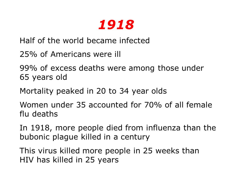 1918 Half of the world became infected 25% of Americans were ill 99% of excess deaths were among those under 65 years old Mortality peaked in 20 to 34 year olds Women under 35 accounted for 70% of all female flu deaths In 1918, more people died from influenza than the bubonic plague killed in a century This virus killed more people in 25 weeks than HIV has killed in 25 years