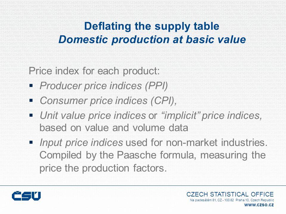 CZECH STATISTICAL OFFICE Na padesátém 81, CZ - 100 82 Praha 10, Czech Republic www.czso.cz Deflating the supply table Domestic production at basic val