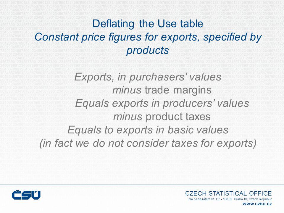 CZECH STATISTICAL OFFICE Na padesátém 81, CZ - 100 82 Praha 10, Czech Republic www.czso.cz Deflating the Use table Constant price figures for exports,