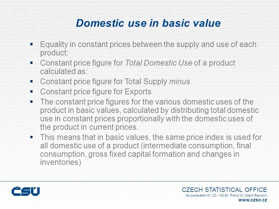 CZECH STATISTICAL OFFICE Na padesátém 81, CZ - 100 82 Praha 10, Czech Republic www.czso.cz Domestic use in basic value Equality in constant prices bet
