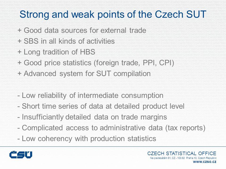 CZECH STATISTICAL OFFICE Na padesátém 81, CZ - 100 82 Praha 10, Czech Republic www.czso.cz Strong and weak points of the Czech SUT + Good data sources