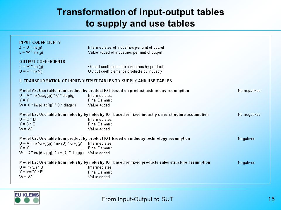 From Input-Output to SUT15 Transformation of input-output tables to supply and use tables
