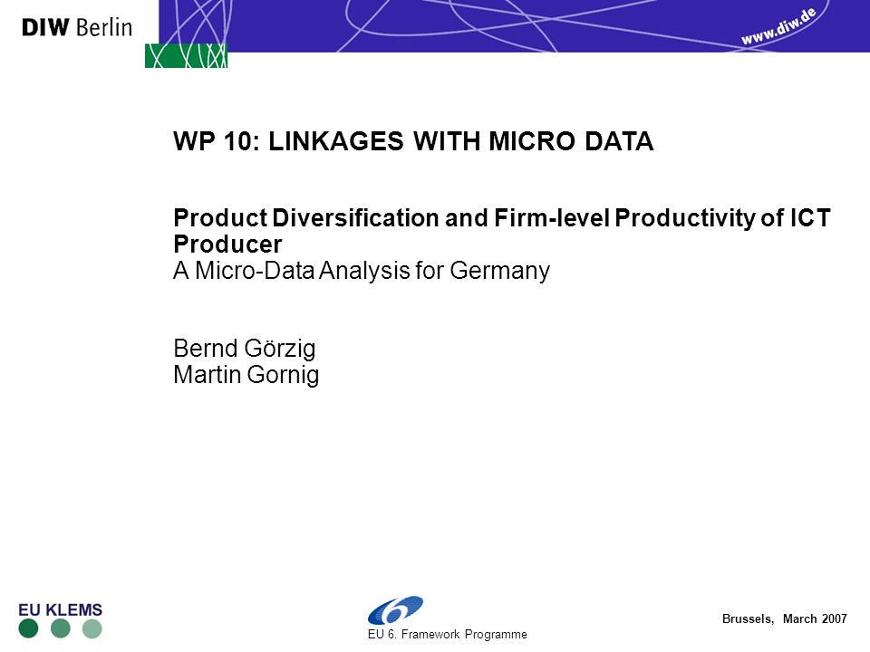 Brussels, March 2007 EU 6. Framework Programme WP 10: LINKAGES WITH MICRO DATA Product Diversification and Firm-level Productivity of ICT Producer A M