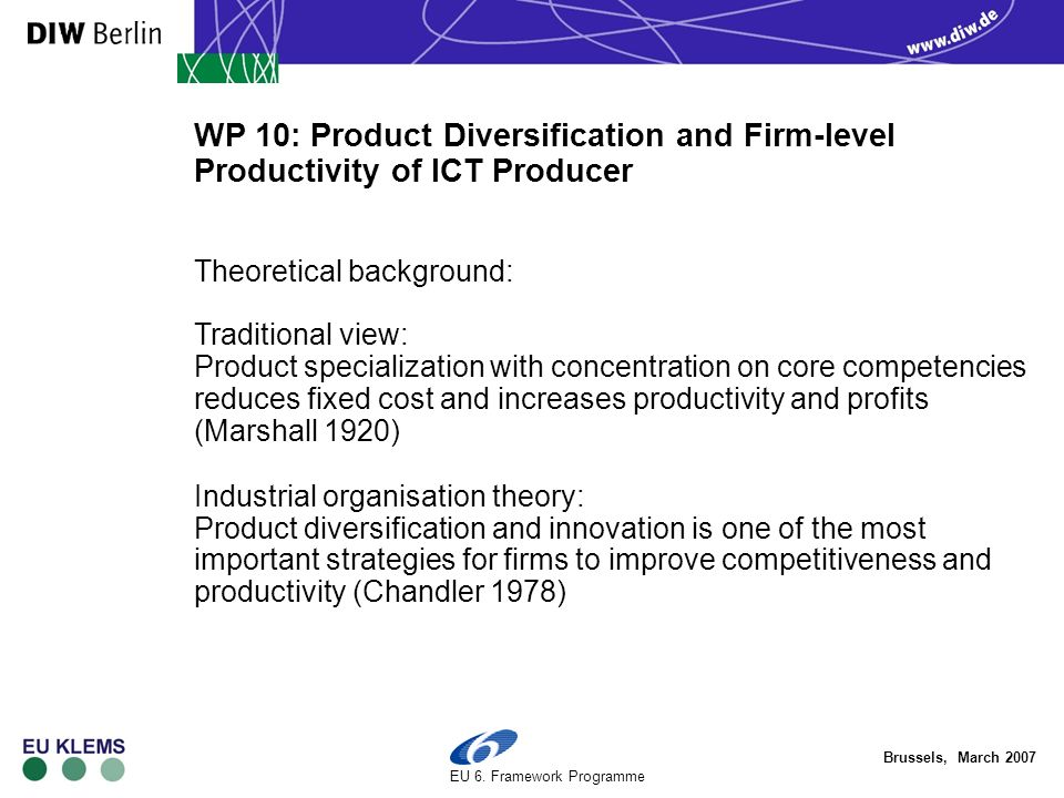 Brussels, March 2007 EU 6. Framework Programme WP 10: Product Diversification and Firm-level Productivity of ICT Producer Theoretical background: Trad