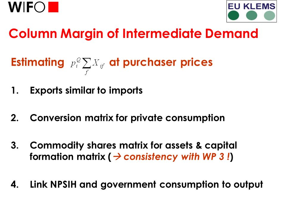 Column Margin of Intermediate Demand Estimating at purchaser prices 1.Exports similar to imports 2.Conversion matrix for private consumption 3.Commodity shares matrix for assets & capital formation matrix ( consistency with WP 3 .