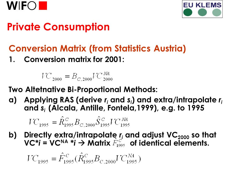 Private Consumption Conversion Matrix (from Statistics Austria) 1.Conversion matrix for 2001: Two Altetnative Bi-Proportional Methods: a)Applying RAS (derive r i and s i ) and extra/intrapolate r i and s i (Alcala, Antille, Fontela,1999), e.g.