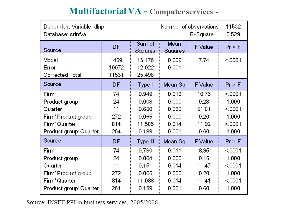 Multifactorial VA - Computer services - Source: INSEE PPI in business services, 2005/2006