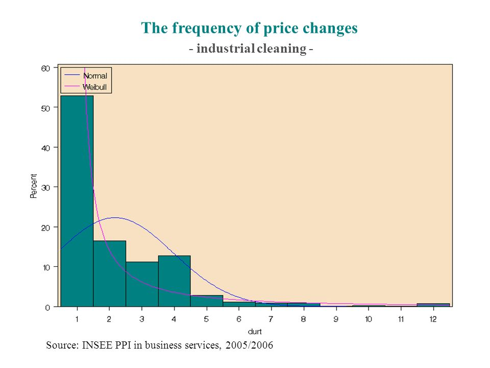 The frequency of price changes - industrial cleaning - Source: INSEE PPI in business services, 2005/2006