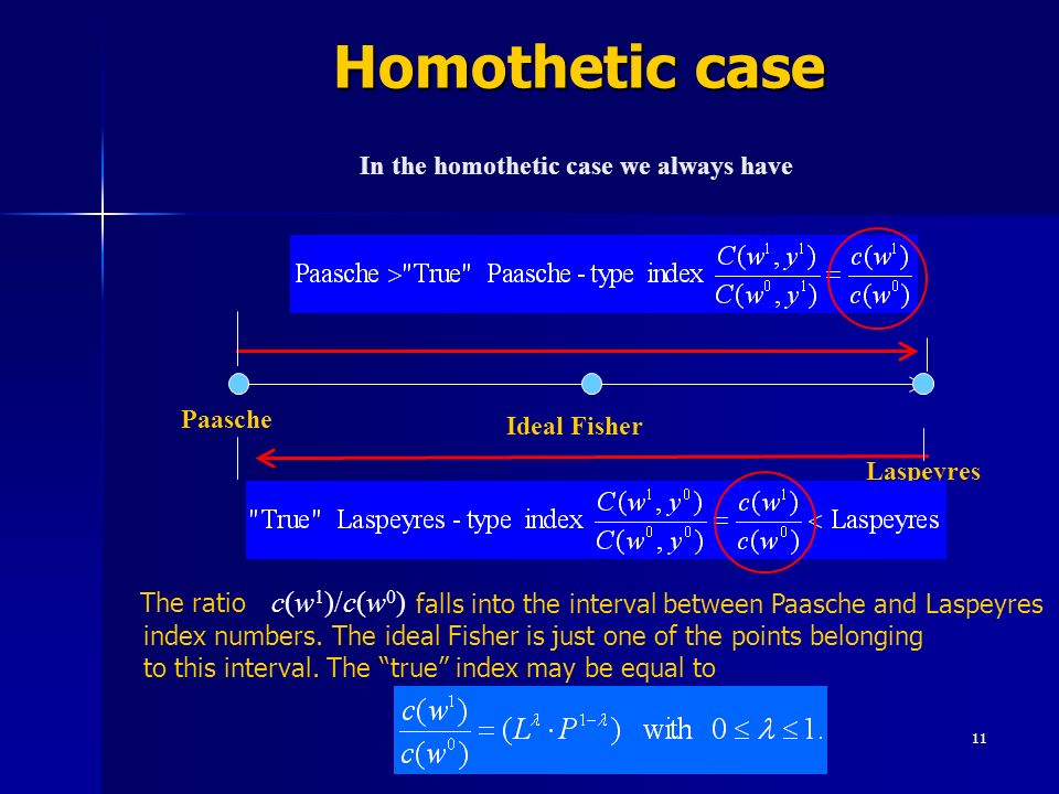 11 Homothetic case Homothetic case Laspeyres Paasche In the homothetic case we always have Ideal Fisher The ratio falls into the interval between Paas