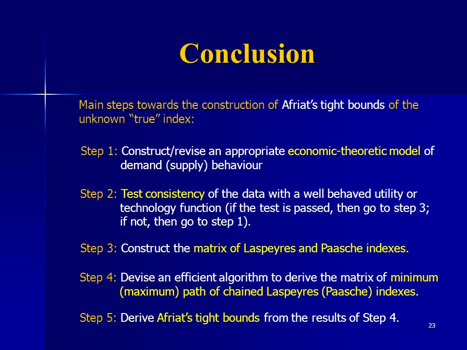 23 Conclusion Main steps towards the construction of Afriats tight bounds of the unknown true index: Step 2: Test consistency of the data with a well