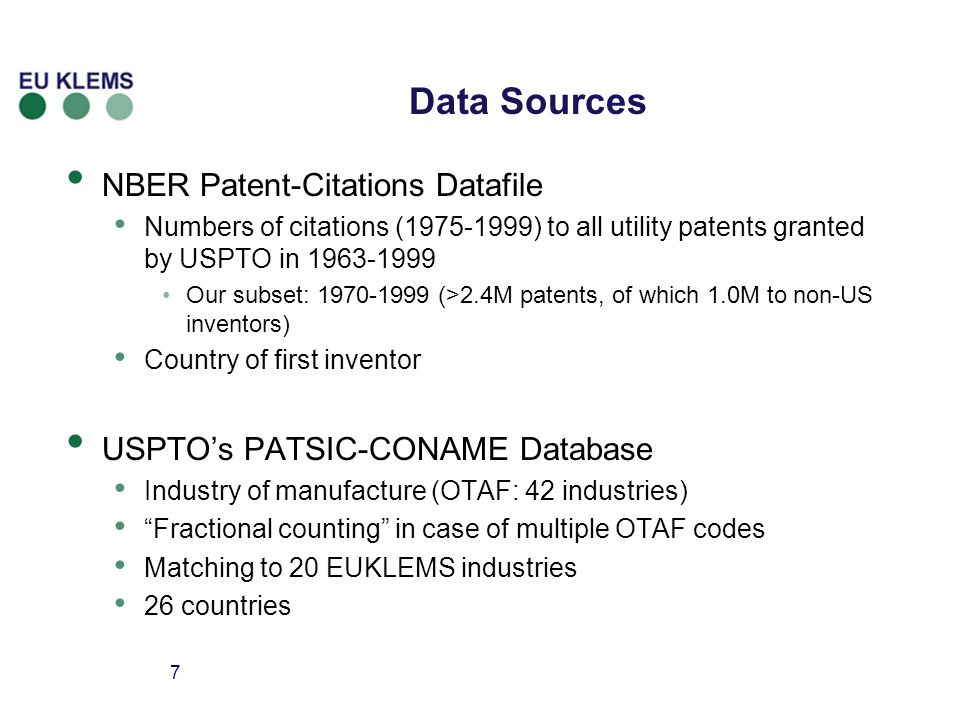 7 Data Sources NBER Patent-Citations Datafile Numbers of citations ( ) to all utility patents granted by USPTO in Our subset: (>2.4M patents, of which 1.0M to non-US inventors) Country of first inventor USPTOs PATSIC-CONAME Database Industry of manufacture (OTAF: 42 industries) Fractional counting in case of multiple OTAF codes Matching to 20 EUKLEMS industries 26 countries