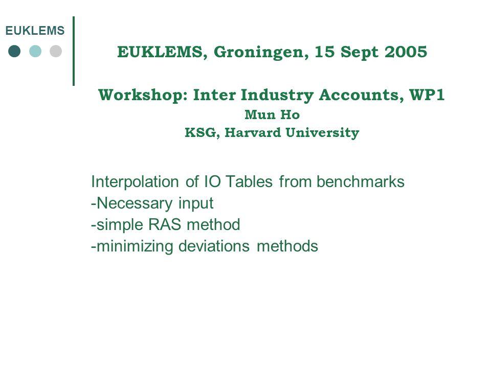 EUKLEMS EUKLEMS, Groningen, 15 Sept 2005 Workshop: Inter Industry Accounts, WP1 Mun Ho KSG, Harvard University Interpolation of IO Tables from benchma