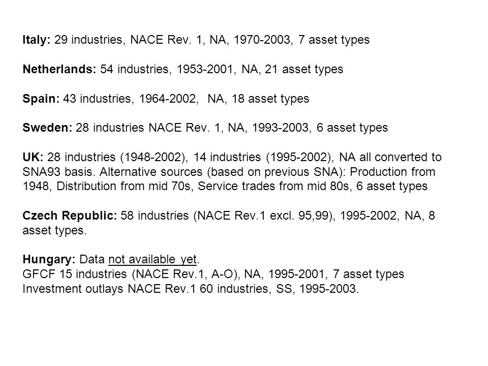 Italy: 29 industries, NACE Rev.