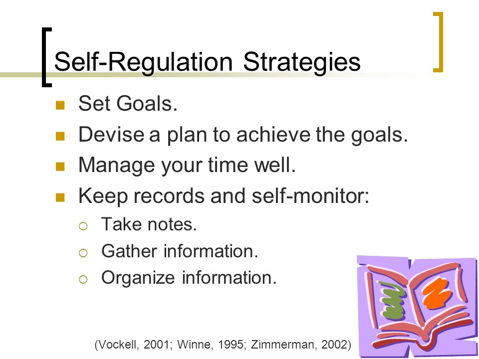 Self-Regulation Strategies Set Goals. Devise a plan to achieve the goals.