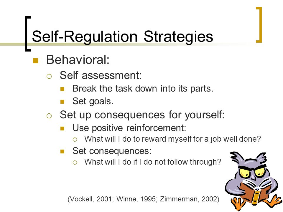 Self-Regulation Strategies Behavioral: Self assessment: Break the task down into its parts.