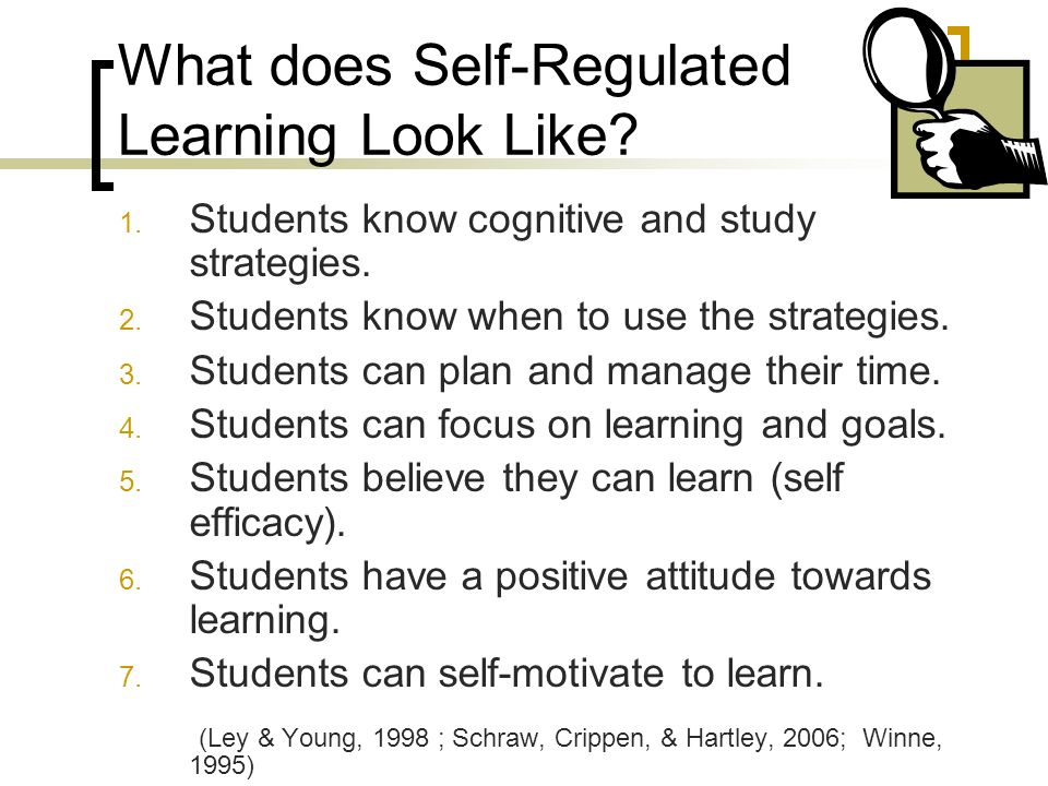What does Self-Regulated Learning Look Like. 1. Students know cognitive and study strategies.