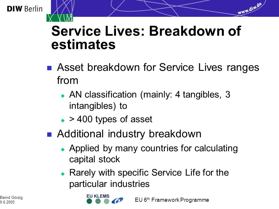 EU 6 th Framework Programme Bernd Görzig 9.6.2005 Service Lives: Breakdown of estimates n Asset breakdown for Service Lives ranges from u AN classification (mainly: 4 tangibles, 3 intangibles) to u > 400 types of asset n Additional industry breakdown u Applied by many countries for calculating capital stock u Rarely with specific Service Life for the particular industries
