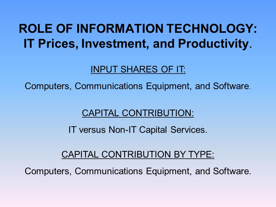 ROLE OF INFORMATION TECHNOLOGY: IT Prices, Investment, and Productivity.