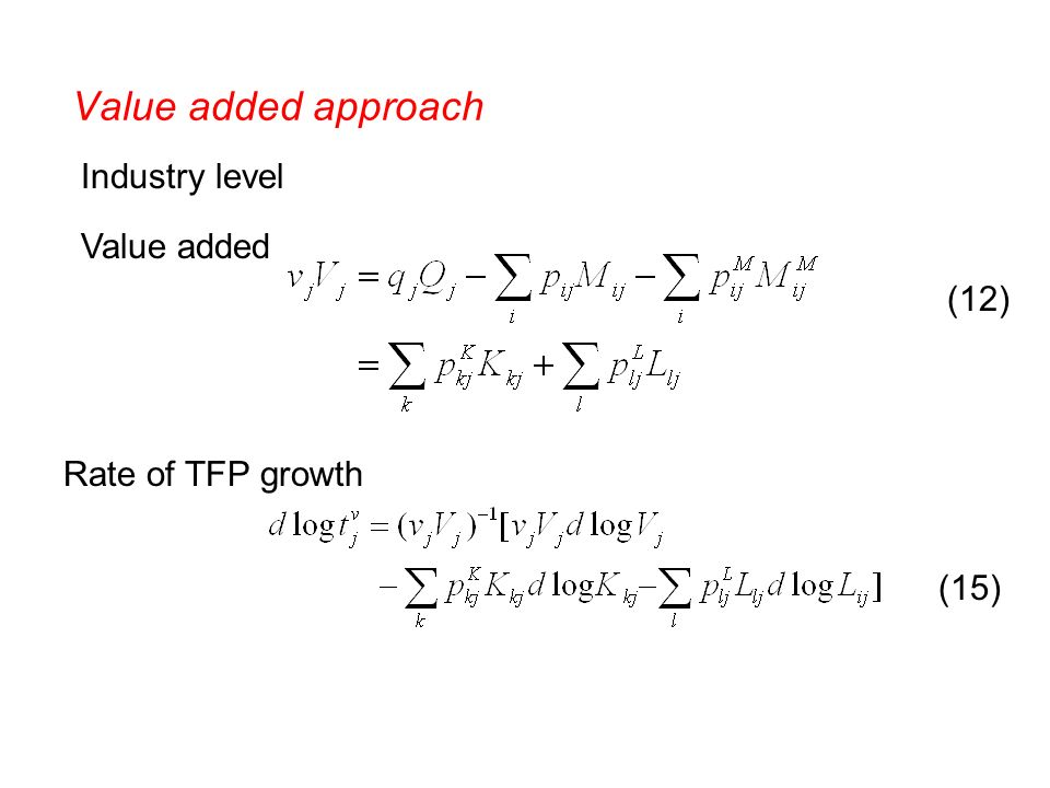 Value added approach Industry level Value added Rate of TFP growth (12) (15)