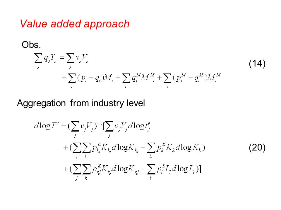 Aggregation from industry level Obs. (14) (20) Value added approach