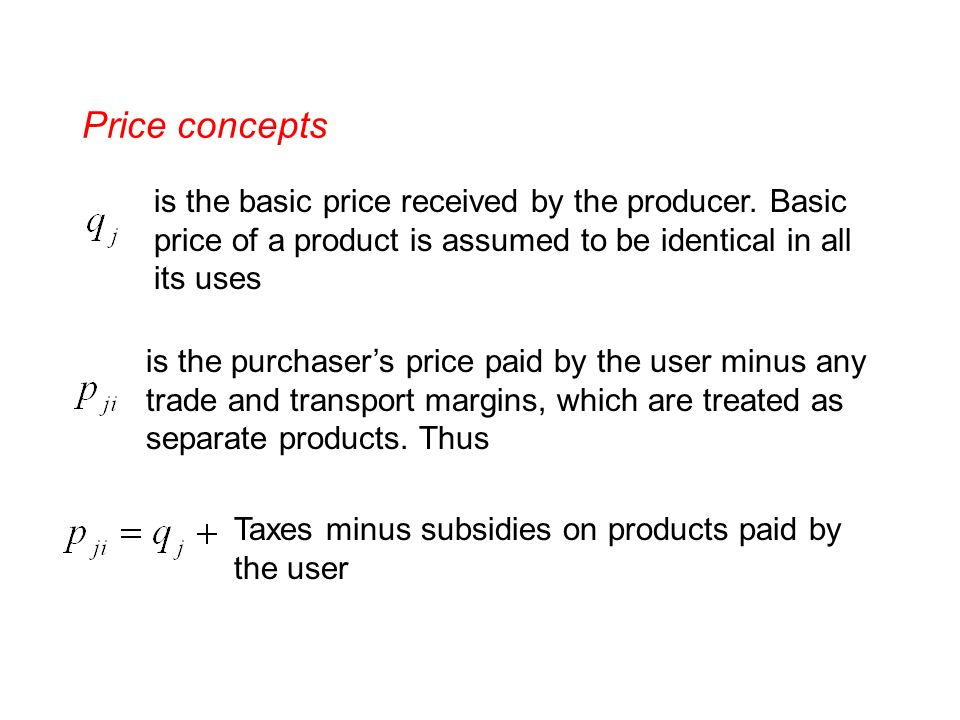 Price concepts is the basic price received by the producer.