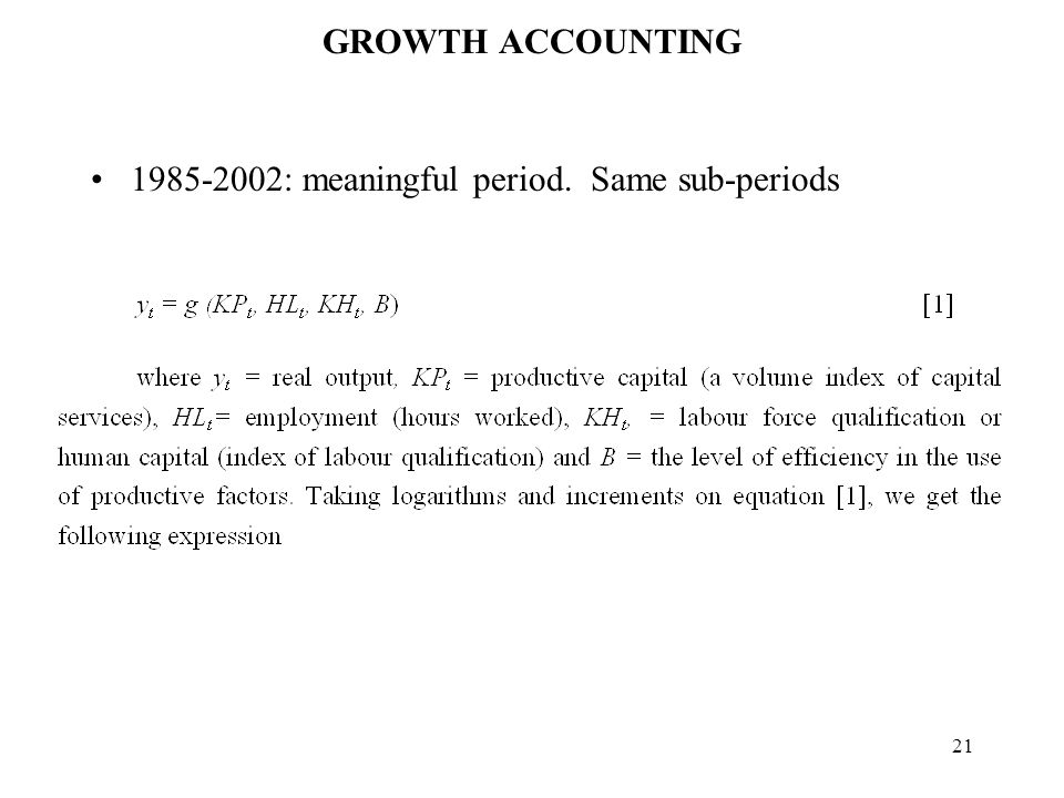 21 GROWTH ACCOUNTING : meaningful period. Same sub-periods
