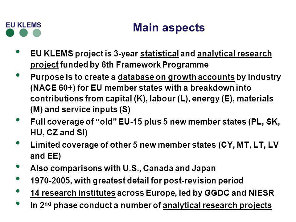 Main aspects EU KLEMS project is 3-year statistical and analytical research project funded by 6th Framework Programme Purpose is to create a database