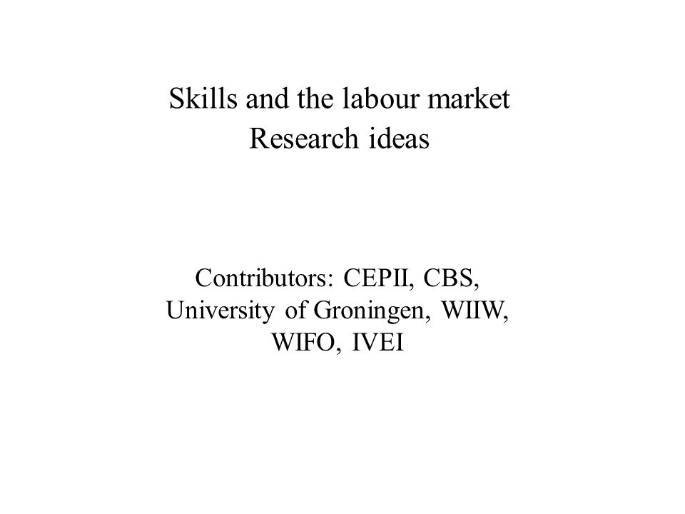 Skills and the labour market Research ideas Contributors: CEPII, CBS, University of Groningen, WIIW, WIFO, IVEI