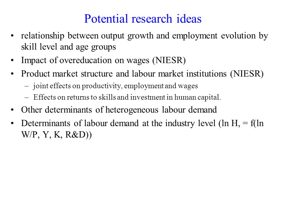Potential research ideas relationship between output growth and employment evolution by skill level and age groups Impact of overeducation on wages (NIESR) Product market structure and labour market institutions (NIESR) –joint effects on productivity, employment and wages –Effects on returns to skills and investment in human capital.